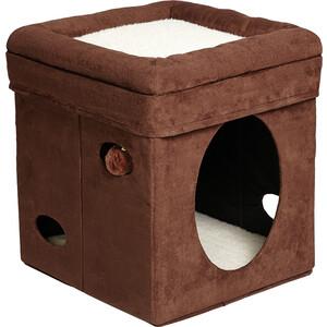 Домик Midwest Curious Cat Cat Cube- Brown Suede складной с лежанкой для кошек 38,4x38,4x42h см домик rp8108 квадратный на подставке 37 35 95 для кошки