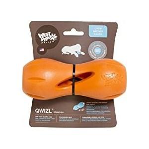 Купить Игрушка Zogoflex Qwizl Small гантеля оранжевая 14x6 см для собак (West Paw Design)