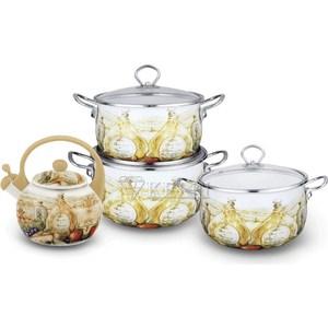 Набор эмалированной посуды 7 предметов Kelli (KL-4444) набор кухонных принадлежностей 5 предметов kelli kl 2114