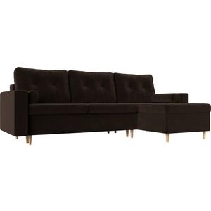 Угловой диван АртМебель Белфаст микровельвет коричневый правый угол