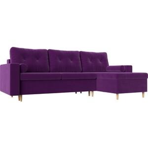 Угловой диван АртМебель Белфаст микровельвет фиолетовый правый угол