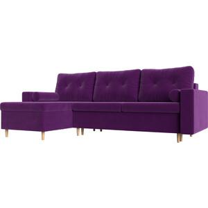 Угловой диван АртМебель Белфаст микровельвет фиолетовый левый угол