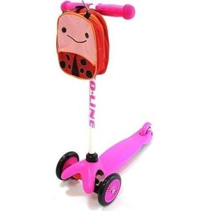 Самокат 3-х колесный Amigo Bliss с рюкзаком розовый