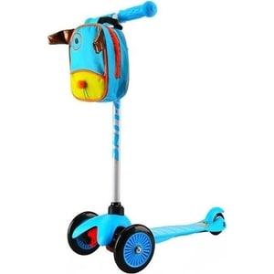 Самокат 3-х колесный Amigo Bliss с рюкзаком голубой