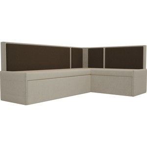 Кухонный угловой диван АртМебель Кристина микровельвет бежево/коричневый правый