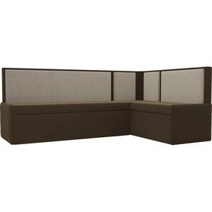 Кухонный угловой диван АртМебель Кристина микровельвет коричнево/бежевый правый