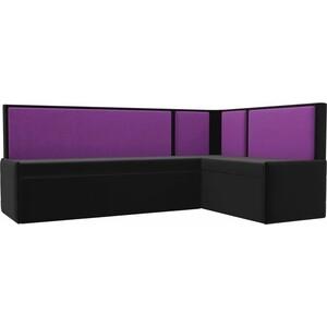 Кухонный угловой диван АртМебель Кристина микровельвет черно/фиолетовый правый