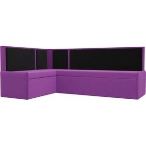 Кухонный угловой диван АртМебель Кристина микровельвет фиолетово/черный левый