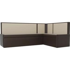 Кухонный угловой диван Мебелико Кристина эко-кожа коричнево/бежевый правый кристина орбакайте кристина орбакайте маски