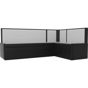 Кухонный угловой диван АртМебель Кристина эко-кожа черно/белый правый