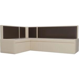 Кухонный угловой диван Мебелико Кристина эко-кожа бежево/коричневый левый кристина орбакайте кристина орбакайте маски
