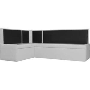 Кухонный угловой диван Мебелико Кристина эко-кожа бело/черный левый кушетка мебелико принц эко кожа бело черный левый