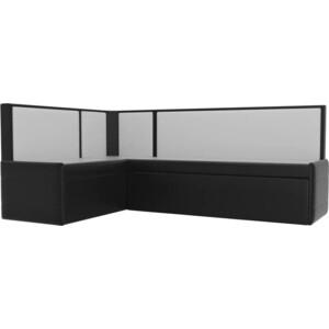 Кухонный угловой диван АртМебель Кристина эко-кожа черно/белый левый