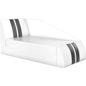 Детская кровать АртМебель Мустанг эко-кожа белый левый