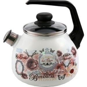 Чайник эмалированный со свистком 3.0 л Appetite Floral kitchen (4с209я)