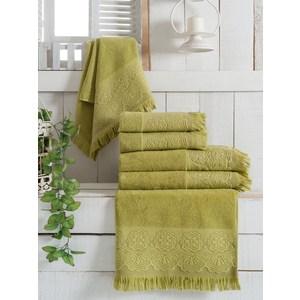 Набор из 3 полотенец Vevien Zara зелёный махра жаккард 70x140 (8283зелёный)