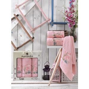Набор из 3 полотенец Merzuka Lale светло-розовый махра 50x80-2/70x130-1 (9293светло-розовый)