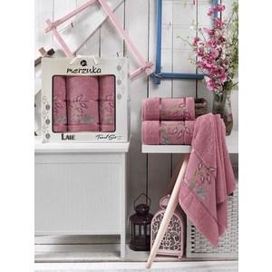 Набор из 3 полотенец Merzuka Lale брусничный махра 50x80-2/70x130-1 (9293брусничный) набор из 3 полотенец merzuka lale светло розовый махра 50x80 2 70x130 1 9293светло розовый