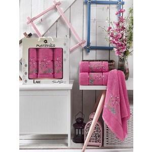 Набор из 3 полотенец Merzuka Lale тёмно-розовый махра 50x80-2/70x130-1 (9293тёмно-розовый) ametoys розовый