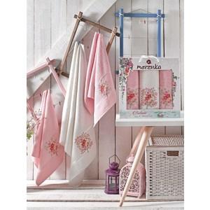 Набор из 3 полотенец Merzuka Botanic светло-розовый махра 50x80-2/70x130-1 (9334светло-розовый)