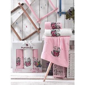 лучшая цена Набор из 3 полотенец Merzuka Butterfly светло-розовый махра 50x80-2/70x130-1 (9335светло-розовый)