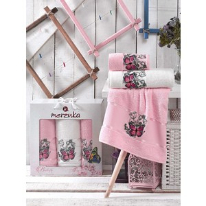 Набор из 3 полотенец Merzuka Butterfly светло-розовый махра 50x80-2/70x130-1 (9335светло-розовый)