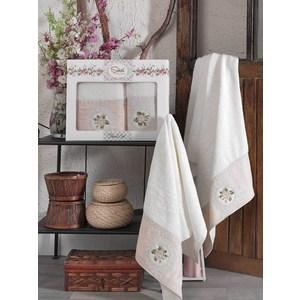 Набор из 2 полотенец Sikel Kanevice кремовый бамбук с вышивкой 50x90/70x140 (9491кремовый)