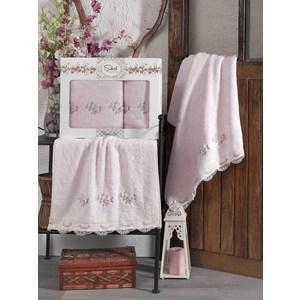 Набор из 2 полотенец Sikel London розовый бамбук с вышивкой 50x90/70x140 (9492розовый)