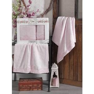 Набор из 2 полотенец Sikel Berhamis розовый бамбук с вышивкой 50x90/70x140 (9493розовый)