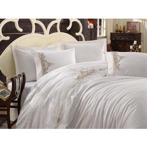Комплект постельного белья Dantela Vita Евро, сатин с вышивкой, Olivia бежевый (9284бежевый)