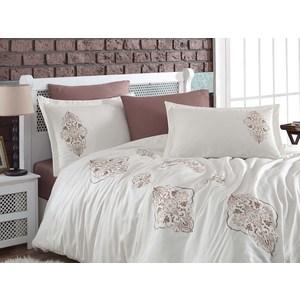 Комплект постельного белья Dantela Vita Евро, сатин с вышивкой, Ottoman молочный (9285молочный)