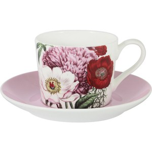 Чашка с блюдцем Anna Lafarg Stechcol Лаура розовая (AL-17821A-PIN-TCS-ST) чашка с блюдцем anna lafarg stechcol лаура сиреневые цветы al 17821 f bcs st
