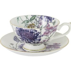 Чашка с блюдцем Anna Lafarg Stechcol Лаура сиреневые цветы (AL-17821-F-TCS-ST)