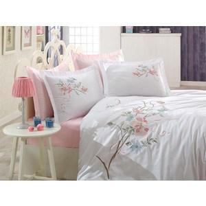 Комплект постельного белья Dantela Vita Евро, сатин с вышивкой, Nergis белый (9343белый)