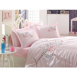 Комплект постельного белья Dantela Vita Евро, сатин с вышивкой, Nergis пудра (9343пудра)