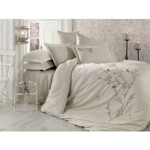 Комплект постельного белья Dantela Vita Евро, сатин с вышивкой, Butterfly бежевый (9345бежевый)