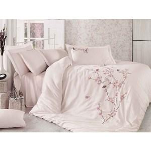 Комплект постельного белья Dantela Vita Евро, сатин с вышивкой, Butterfly пудра (9345пудра)