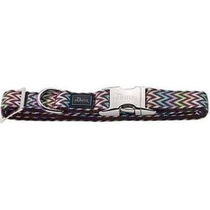 Ошейник Hunter Collar Krazy Zigzag ALU-Strong M/20 (40-55cм) нейлон с металлической застежкой мотив зигзаг для собак