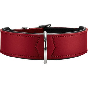 Ошейник Hunter Collar Basic 55 nickel (41-49см) кожа красный/черный для собак фото