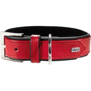 Ошейник Hunter Collar Capri 55 nickel (42-48см) натуральная кожа красный/черный для собак фото