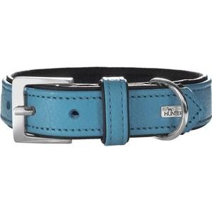 Ошейник Hunter Collar Capri 55 nickel (42-48см) натуральная кожа бирюзовый/черный для собак