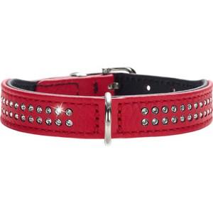 Ошейник Hunter Collar Diamond Petit 27 nickel-plated (20-24см) кожа 2 ряда страз красный для собак ошейник hunter collar tiny petit 24 nickel plated 16 5 20 5см кожа красный для собак