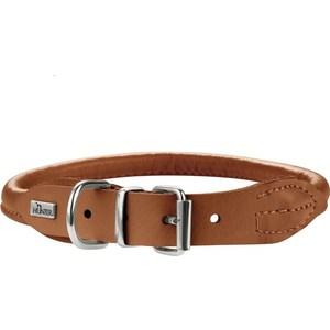 Ошейник Hunter Collar Round & Soft Petit Elk 37/6 nickel (30-33см) кожа лося коньячный для собак