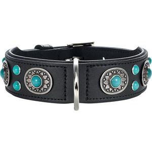 Ошейник Hunter Collar Sioux 55 nickel-plated (41-49см) кожа черный фурнитура с имитацией бирюзы для собак фото