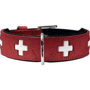 Ошейник Hunter Collar Swiss 32 (24-28см) кожа красный/черный для собак ошейник hunter collar tiny petit 24 nickel plated 16 5 20 5см кожа красный для собак