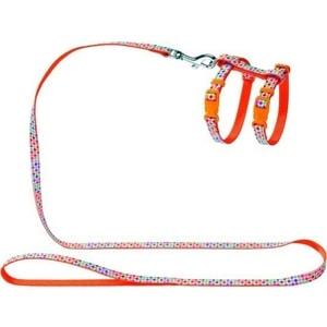 Шлейка Hunter Smart Harness with Leash Set Seventies нейлон оранжевая для кошек и собак