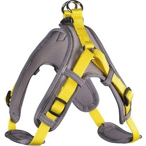 Шлейка Hunter Harness Neopren Vario Quick M (55-70см) нейлон/неопрен желтая/бежевая для собак