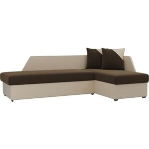 Угловой диван Мебелико Андора микровельвет коричневый+экокожа бежевый правый