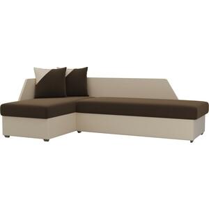 Угловой диван Мебелико Андора микровельвет коричневый+экокожа бежевый левый
