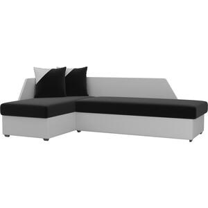 Угловой диван Мебелико Андора микровельвет черный+экокожа белый левый